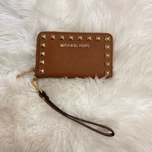 Micheal Kors studded brown wallet/phone case